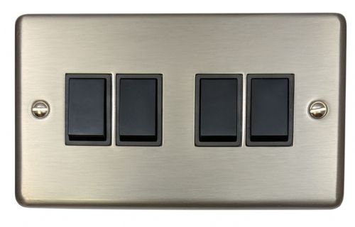 G&H CSS4B Standard Plate Brushed Steel 4 Gang 1 or 2 Way Rocker Light Switch
